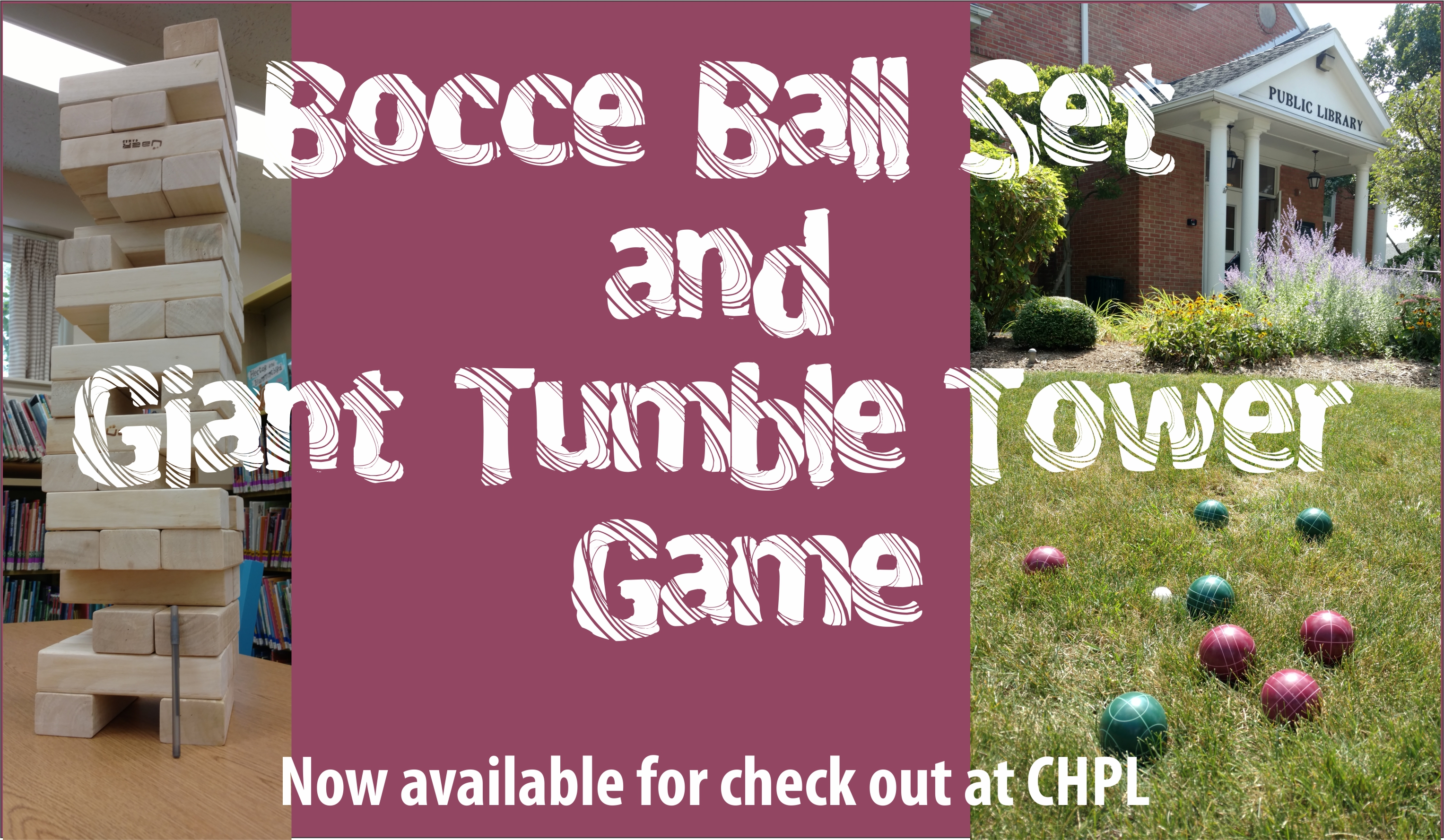 FB bocce ball and wooden tower game